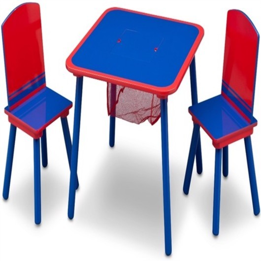 Delta table with storage and chairs blue/red