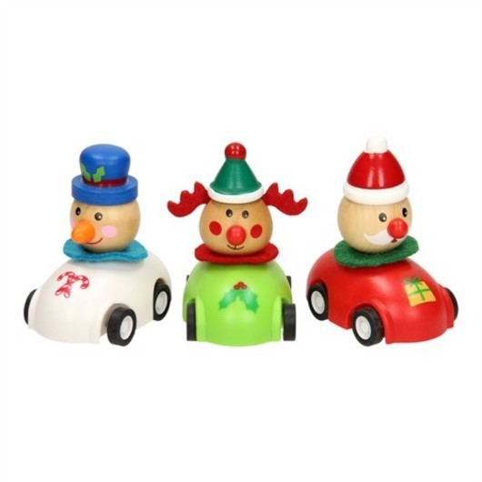 Wooden christmas figure in car