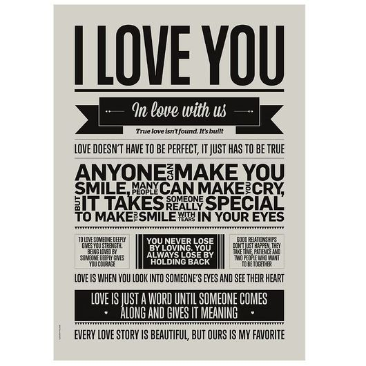 I Love My Type Affisch - 50x70 - I Love You - Warm Grey